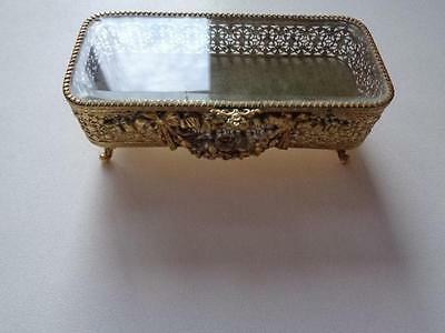 "Vintage Footed Ormolu Jewelry Trinket Box Casket Glass Top 8 5/8"" x 3 7/8"" x 3"""