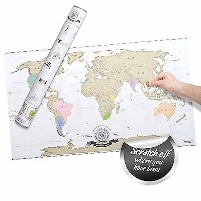Scratch Off World Map Deluxe - Personalized Travel Map Poster XXL