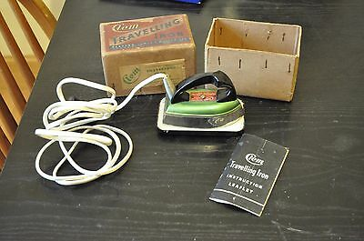Vintage CLEM travelling iron in original box 1950s green