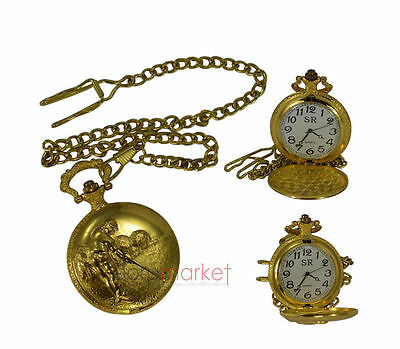 Handmade Vintage Replica Golden golf Play Designed Pocket Watch with long chain