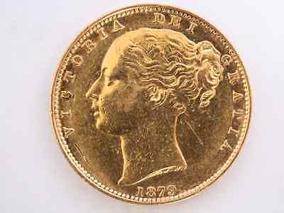 1879 Gold Sovereign British Coin Victoria Young Head Shield Sydney Mint X57