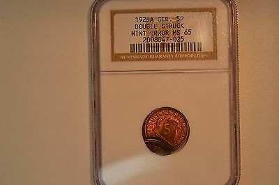 Germany: 1925-A 5 Pfennig- Double Struck Error- NGC MS-65.  Very nice.