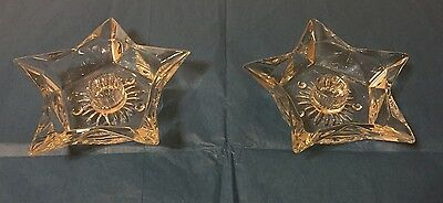 Vintage Glass Star Candlestick Holders
