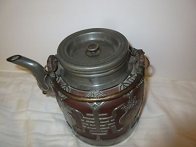 Vintage Chinese Inlaid Pewter over Brown Clay Teapot