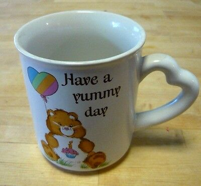 "Vintage 1983 CARE BEARS Stoneware Mug ""Have a Yummy day"" Birthday Bear"
