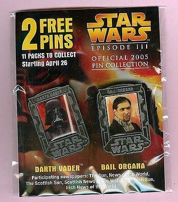 2 pin badges (Darth Vader & Bail Organa) from Episode III - Revenge of the Sith