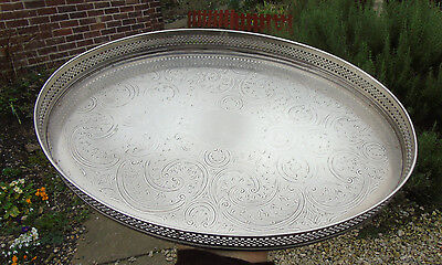 vintage silver plated gallery drinks serving tray cavalier.