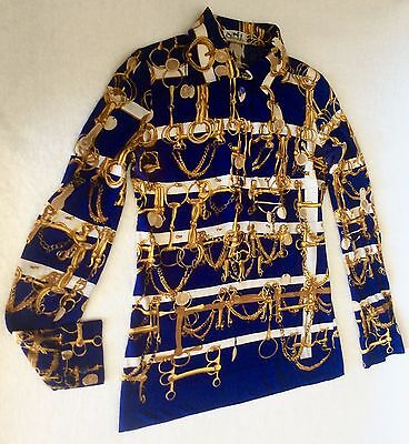 Authentic Vtg Hermes France Blouse Shirt Extra Small Equestrian Print Navy Gold