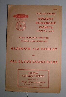 BRITISH RAILWAYS HOLIDAY RUNABOUT TICKETS AREAS No 1 & 8 28th April - 26 Oct '63