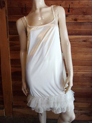 VINTAGE MELODY WHITE SATIN SIZE SMALL SLIP with RUFFLES and LACE