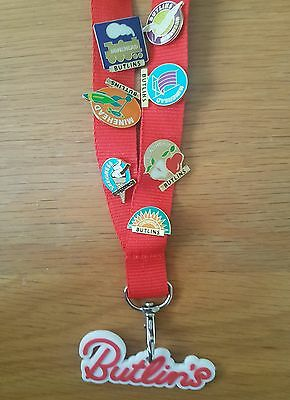 Butlins lanyard with 22 old style pin badges. Some old and rare ones 2004 billy