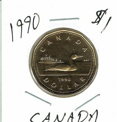 1990 Canadian Proof Like Uncirculated $1 Loonie coin!