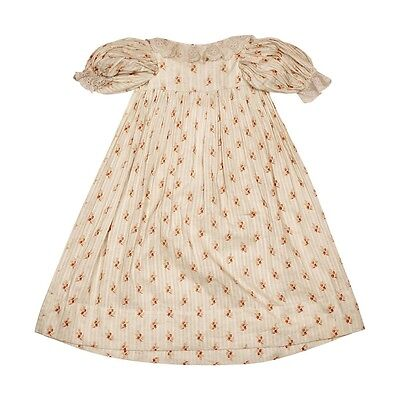 Antique Baby Dress Calico Floral Chintz Printed Cotton Early Victorian for Doll