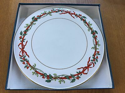Royal Worcester Holly Ribbons Christmas Design Cake Plate In box