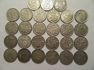 Lot of 27 Great Britain Silver 3 Pence, 1920-1946, good details