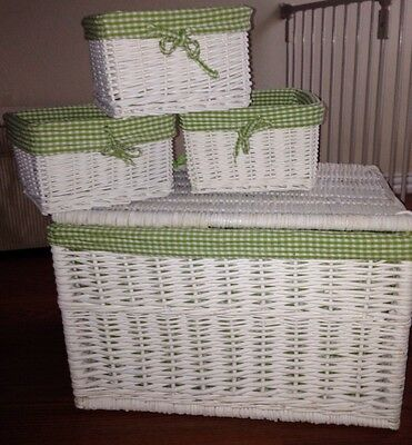 Set Of 4 White Wicker Nesting Baskets W Gingham Liners & 1 With Lid! RARE* HTF*