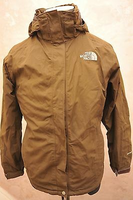 North Face Womens Medium Hyvent Waterproof Jacket Hiking Brown Green Khaki Gd96