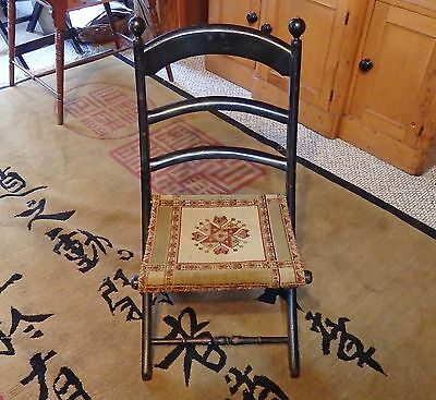 Antique Victorian FOLDING WOOD CHAIR by E. W. VAILL Original Carpet Seat