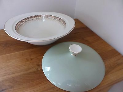 Grindley Satin White Ironstone Tudor pattern, vegetable dish with lid, vgc