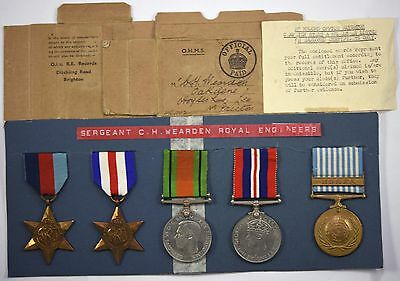5 WW2 Medals 1939-45, France & Germany Stars, War, Defence And Korea Medals