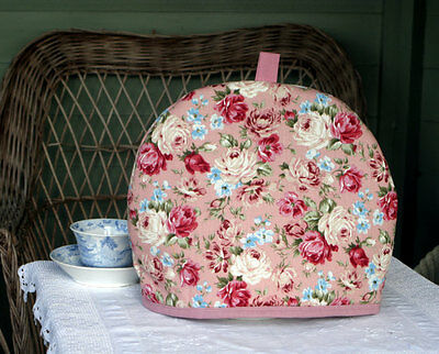 Handmade Linen/Cotton Pink Rose Tea Cosy for a Medium to Large Teapot