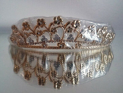 Gold flower effect with diamante centres Tiara,Prom,wedding,flower girl