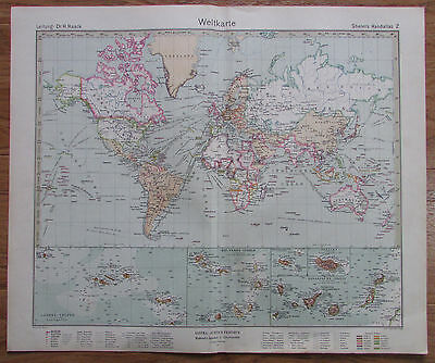 WELTKARTE - MAP OF THE WORLD 1926 Kupferstich original alte Landkarte old map