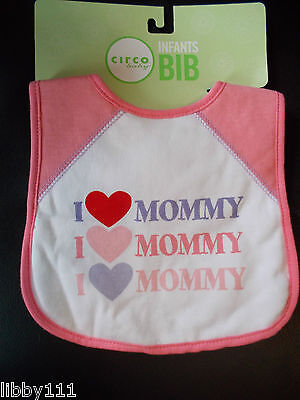 """Circo Baby Pink, Purple and White """"I love Mommy"""" Infants Baby Bib New"""