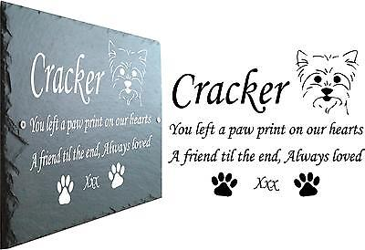 Yorkie Pet Memorial Slate Plaque, Personalised for your Yorkshire Terrier