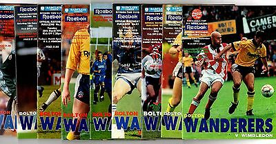 1992-1993 Bolton Wanderers  Home Programmes - select the one you want POST FREE