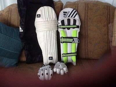 addidas cricket batting pads left hand and gloves