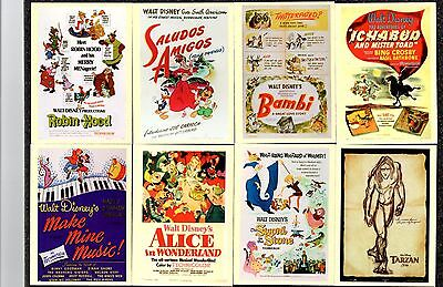 WALT DISNEY  Trading Cards FEATURING  Animated Movie Posters x 11 (circ 2000)