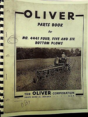 1960 Oliver Parts Book For #4441 Four,Five & Six Bottom Plows Fully Illustrated