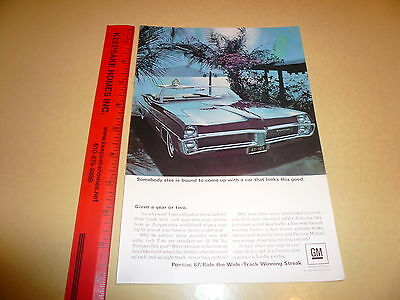 1967 Pontiac Catallina Convertible Ad Advertisement Vintage Wide-Track