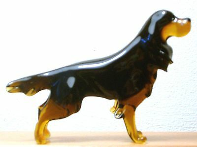 "Hand Blown ""murano"" Glass Collectable Scottish Setter Gordon Dog Figurine"