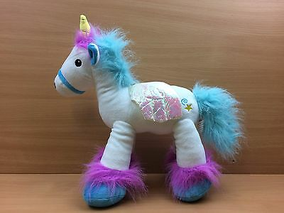 "Fairyland Friends 13"" Unicorn Plush Soft Toy White with Blue and Pink Hair VGC"