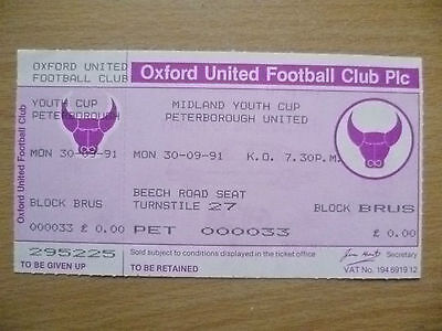 Tickets: Midland Youth CUP PETERBOROUGH UNITED, 30 Sept 1991