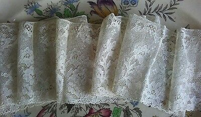 "Beautiful Antique Vintage Alencon Lace Trim 78"" long x 4"" wide Ecru 2 yards"