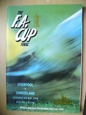 1992 FA Cup FINAL Programme- LIVERPOOL v SUNDERLAND (Very Good condition*)