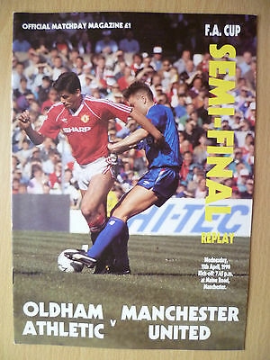FA Cup Semi Final REPLAY 1990- OLDHAM ATHLETIC v MANCHESTER UNITED, 11th April