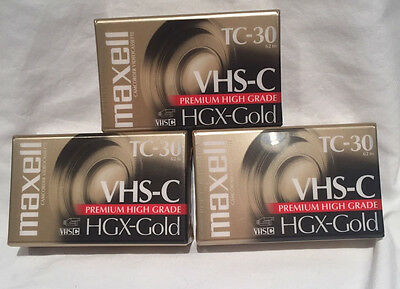 Lot Of 3 New Sealed MAXELL HGX- GOLD TC- 30 VHS- C Video Tapes Free Shipping