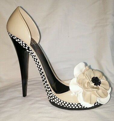 """WINE HOLDER SHOE LALA by GIFTCRAFT ~ 8"""" Stilettos - Black/Beige, Studded / Red"""