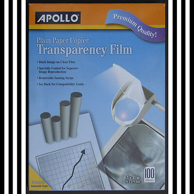 "-$15 Apollo 8 1/2"" by 11"" Plain Paper Copier Transparency Film  see PHOTOS below"