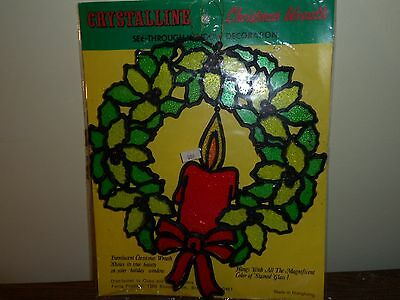 Vtg Christmas Wreath Candle Crystalline Sun Catcher Decoration Wall Hanging