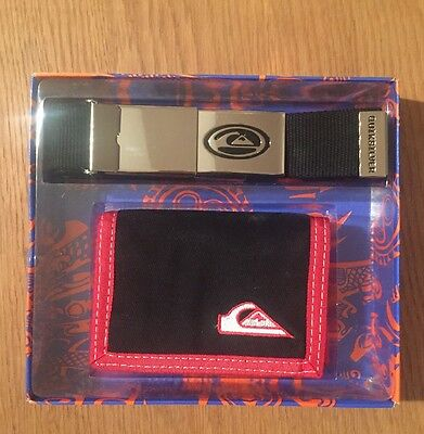 Quiksilver Gift Pack/set Black Wallet And Belt