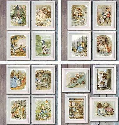 Beatrix Potter Peter Rabbit set of 4 Picture Print Wall Art Decor Gift Nursery