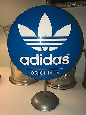 ADIDAS Button Sign shoe Store Display Blue Originals Round RARE Double Sided