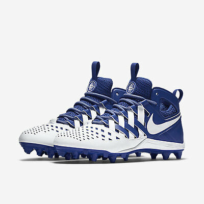 new mens 12/13 nike huarache 5/V mid/lacrosse cleats LAX royal/white football