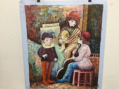 Hand painted oil on canvas abstract painting signed by artist unframed.