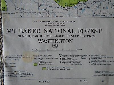 Vintage 1962 Mt Baker Forest Svc Map